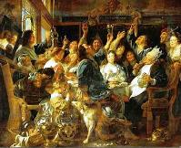 The banquet of the Bean King of artist Jacob Jordaens, 1593-1678