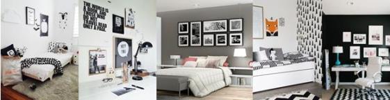 Cinco tendências para decorar o quarto dos adolescentes ~ Quarto Preto E Branco Jovem